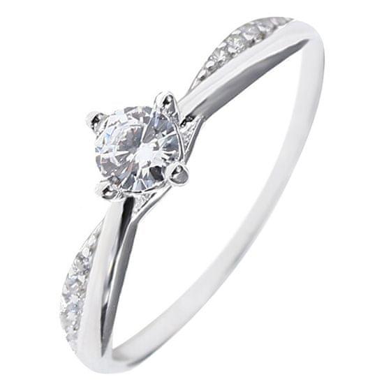 JVD CzułySrebrny pierścieńz przezroczystym i cyrkonie SVLR0306XH2BI srebro 925/1000