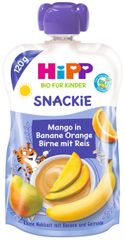 HiPP BIO Snackie Hruška-Pomeranč-Mango-Banán-Rýžová mouka 6 x 120 g