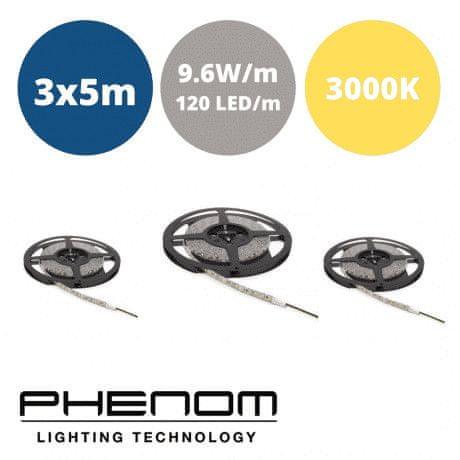 PHENOM LED trak - 3x5m - 120 LED/m - 9,6W/m - toplo beli 3000K