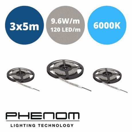 PHENOM LED trak - 3x5m - 120 LED/m - 9,6W/m - hladno beli 6000K
