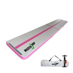 Masterjump Airtrack felfújható tornaszőnyeg 600 x 100 x 10 cm - szürke - rózsaszín