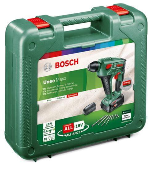 Bosch akumulatorsko vrtalno kladivo Uneo Maxx 18 Li (1x 2,5 Ah akum. baterija)