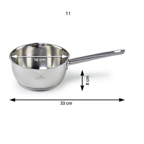 Rosmarino Pour&Cook II kozica, s steklenim pokrovom, jeklena, 1 l, 16 cm