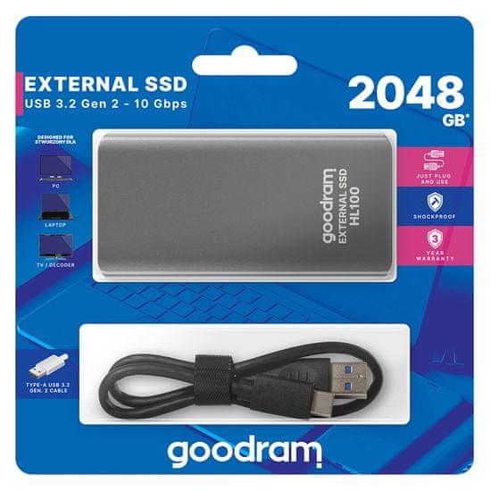 GoodRam HL100 zunanji SSD disk, 2 TB, USB 3.2 Gen 2