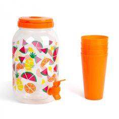 Family Dispenzer za pijačo s pipo in plastičnimi skodelicami - 3,8 l - oranžen