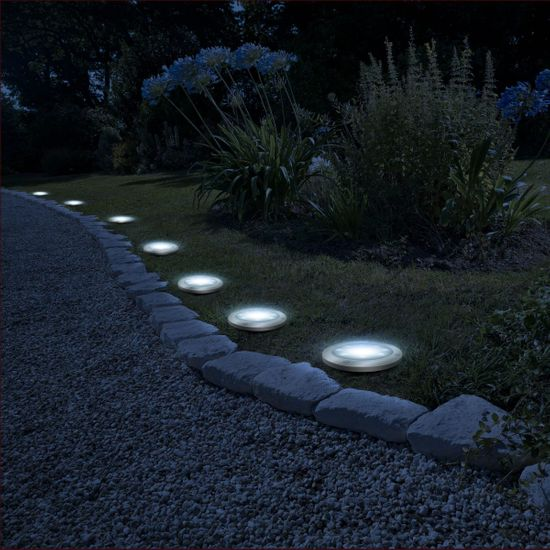 GARDEN OF EDEN LED solarna svetilka za v travo - okrogla - hladno bela - 11 cm
