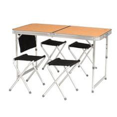 Easy Camp Belfort kamp miza, bambus + kamp stoli, 4 kosi