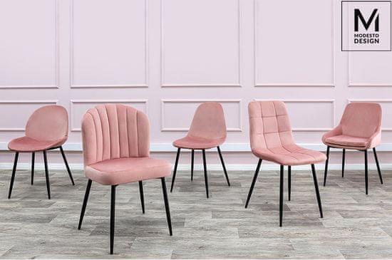 shumee MODESTO krzesło CLOVER pudrowy róż - welur, metal