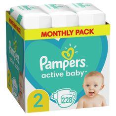 Active Baby Plienky Veľkosť 2, 228 ks, 4-8 kg