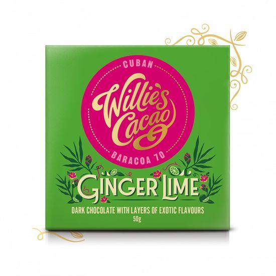 Willies Cacao Čokoláda Ginger Lime hořká se zázvorem a limetkou 70%, 50g