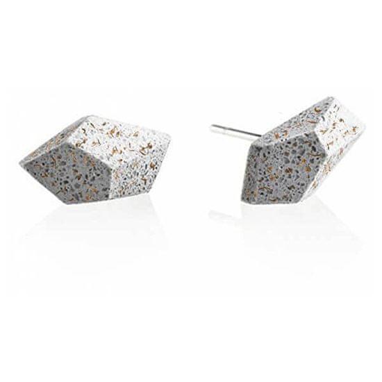 Gravelli Náušnice z betonu Rock Fragments Edition měděná/šedá GJEWFCG005UN
