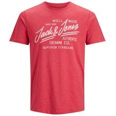 Jack&Jones Moška majica JJEJEANS 12177533 True Red MELANGE (Velikost S)