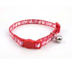 COBBYS PET Állítható macska nyakörv csengővel 1,0x20-3cm piros szívecskés