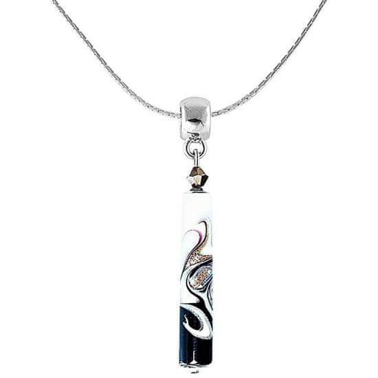 Lampglas Elegáns nyaklánc Black & White egyedi Lampglas NPR11 gyönggyel