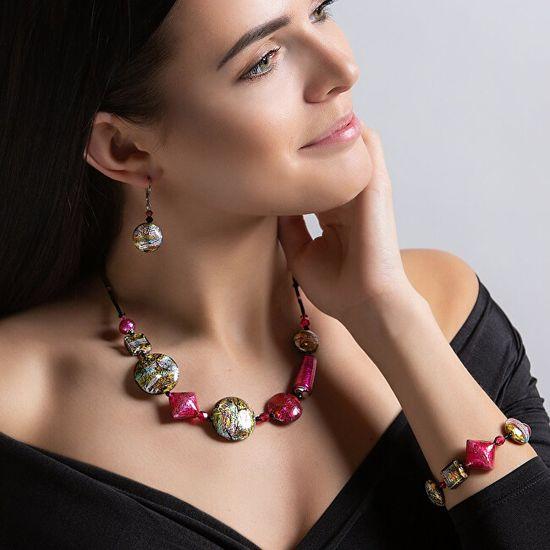 Lampglas Figlarnybransoletka Sweet Candy z 24-karatowym złotem i czystym srebrem w perłach Lampglas