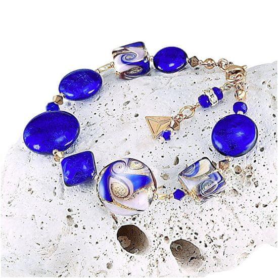 Lampglas FascynującybransoletkaGoldBlue z 24-karatowym złotem i czystym srebrem w perłach Lampglas