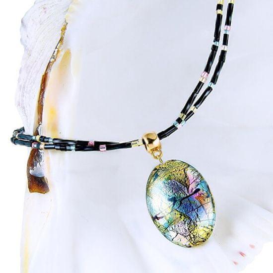 Lampglas Mysteriózny náhrdelník Gold Fantasy s 24 karátovým zlatom a rýdzim striebrom v perle Lampglas NP38
