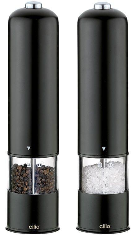 Cilio Elektrický mlýnek na pepř a sůl BERGAMO černá