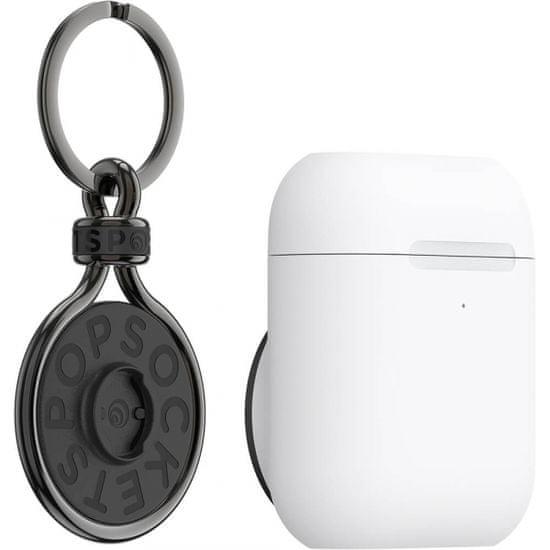 PopSockets PopGrip držač za slušalice AirPods Pro, bijeli + PopChain Gunmetal privjesak