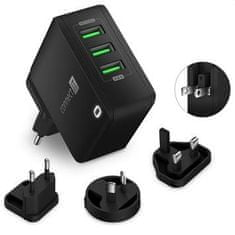 Connect IT Nomad2 WorldTravel nabíjací adaptér 3× USB-A, 24W, čierny CWC-3310-BK