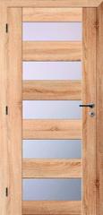 SOLODOOR Interiérové rámové dveře SOLODOOR, model TÜREN 40 prosklené, šířka 700 mm, pravé provedení, povrch SOLO STRUKTUR, dekor DUB SONOMA, oblé hrany, sklo SATINATO