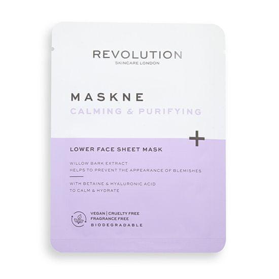 Revolution Skincare Upokojujúci pleťová maska Maskne Calming & Purifying (Lower Face Sheet Mask) 2 ks