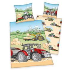 Herding Traktor otroška bombažna posteljnina, 140 x 200/70 x 90 cm