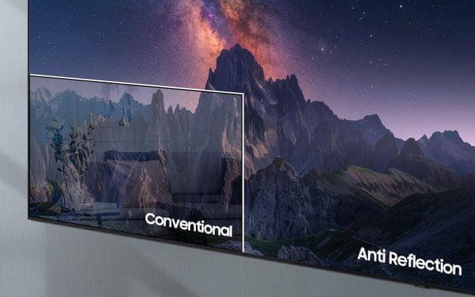 samsung tv televize qled 8K 2021 antireflexní povrch ultraširoké pozorovací úhly