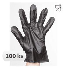 Cerva Jednorázové rukavice Chick TPE polyetylénové, 100ks černá XL