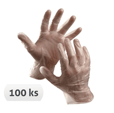 Cerva Jednorázové pudrované vinylové rukavice Rail, 100ks 8/M