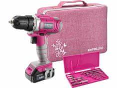Extol Lady Akumulátorová vŕtačka, 12V Li-ion, 1x akumulátor 1300mAh, 18Nm, 5h nabíjačka, ružový