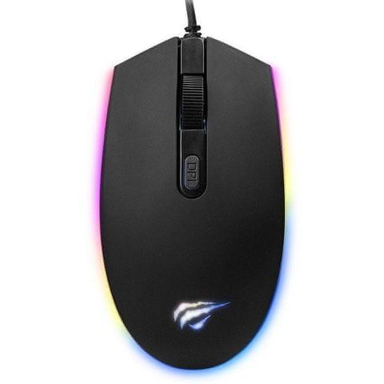 Havit Gamenote MS1003 RGB herní myš, černá