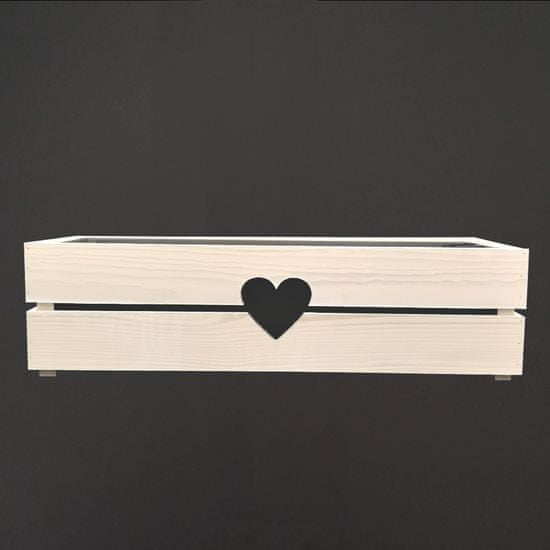 AMADEA Dřevěný obal na truhlík se srdcem bílý, 62x21,5x17cm Český výrobek