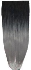 Vipbejba Flip-in/neviditelné syntetické prodloužení vlasů, rovné, barva ombre černá a šedá S1