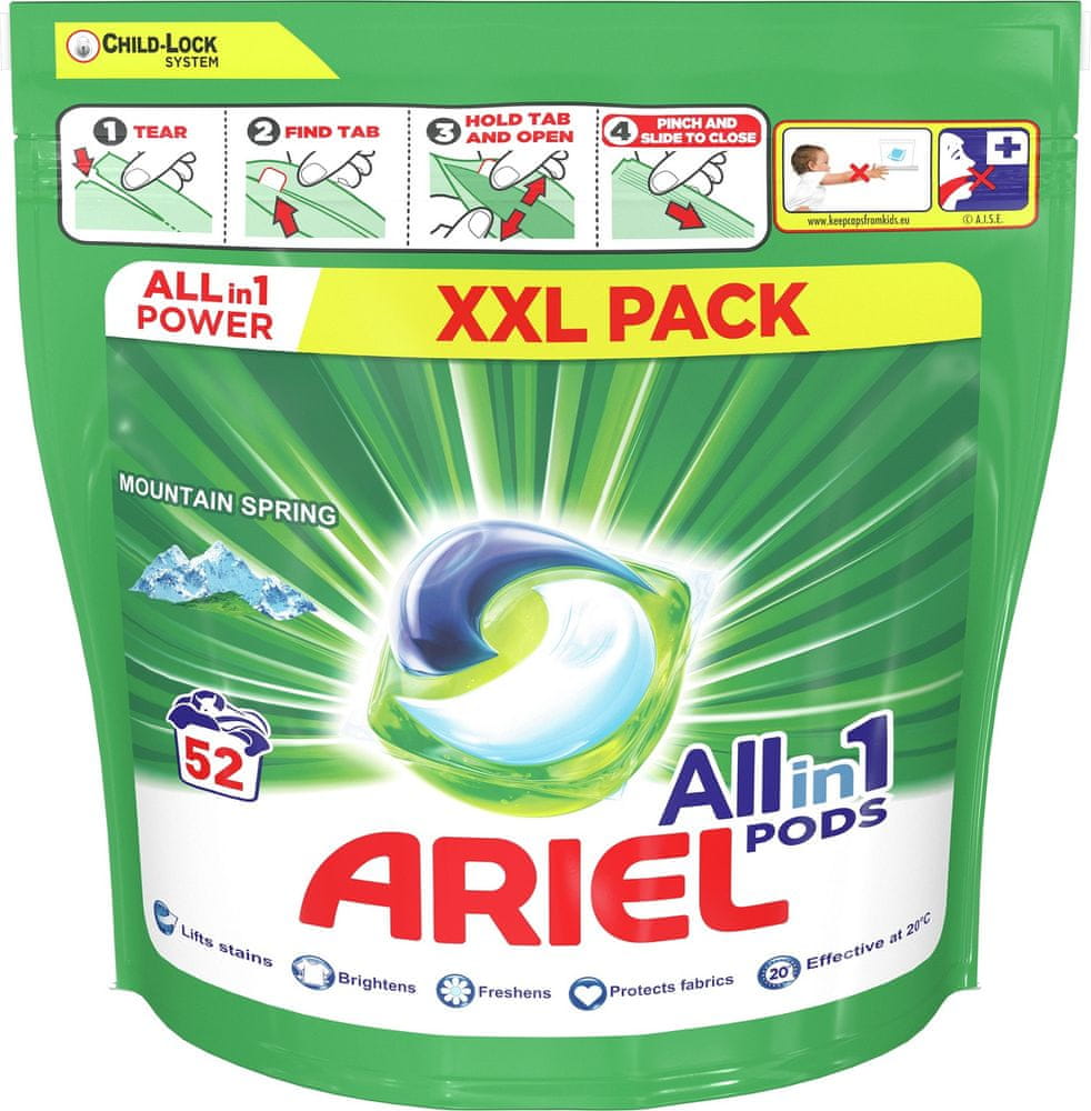 Ariel All-In-1 PODs Mountain Spring Kapsle Na Praní, 52 Praní
