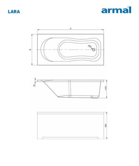 Armal KOPALNA KAD LARA 170 X 75, brez obloge in sifona