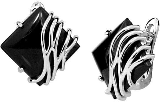 JVD Stylowe srebroKolczyki z czarnym onyksem SVLE0356SH8BL00