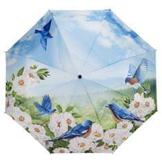 Blooming Brollies Panie składane w pełni automatyczny parasol niebieskie ptaki GBFBBN