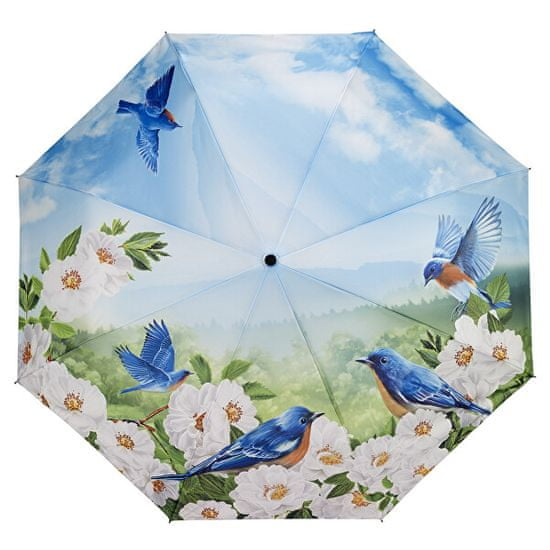 Blooming Brollies Damski zložljiv avtomatski dežnik Modre ptice (Blue Birds) GFFRDN