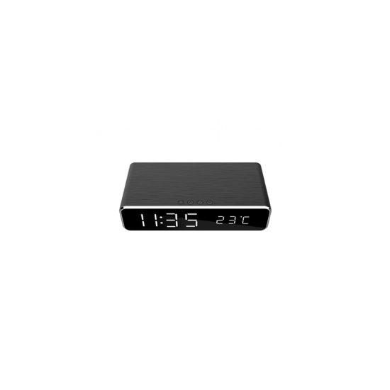 Gembird Digitalna budilka s funkcijo brezžičnega polnjenja telefona, črna