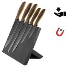 Platinet PBKSBB5W set kuhinjskih noževa, 5 komada, magnetsko postolje, crno-smeđe boje