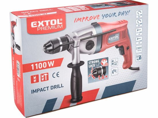 Extol Premium vrtačka s příklepem, Click-lock, 1100W