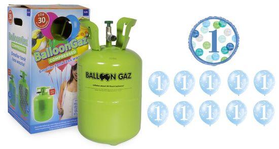Helium sada na 1.NAROZENINY MALÁ OSLAVA KLUK + 10 ks latexových balónků + 1 ks fóliový balónek