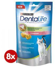 Purina Dentalife Cat priboljški za mačke z lososom, 8x 40 g