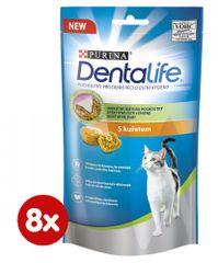 Purina Dentalife Cat priboljški za mačke s piščancem, 8x 40 g