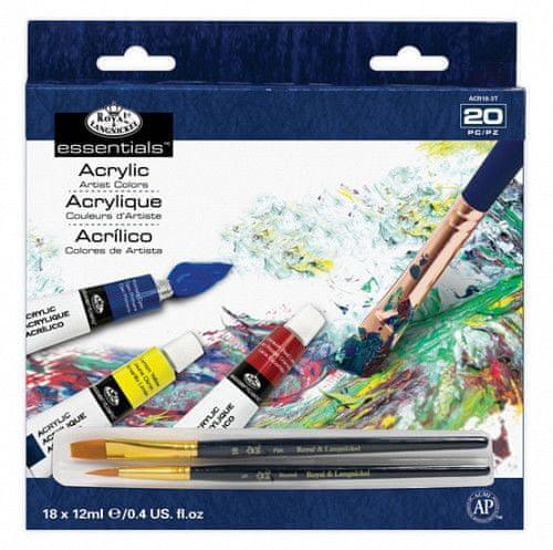 Royal & Langnickel Akrylové barvy ARTIST 18x12ml + 2 štětce