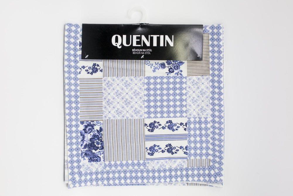 QUENTIN běhoun na stůl 35x150 cm modrotisk
