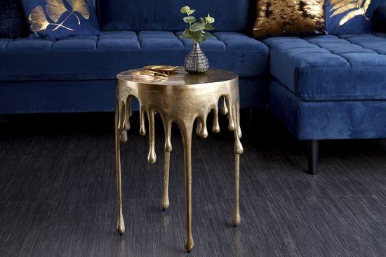 shumee Konferenčný stolík INVICTA LIQUID LINE 51 zlatá - kov