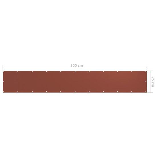 shumee Balkónová markíza, tehlová farba 75x500 cm, oxfordská látka