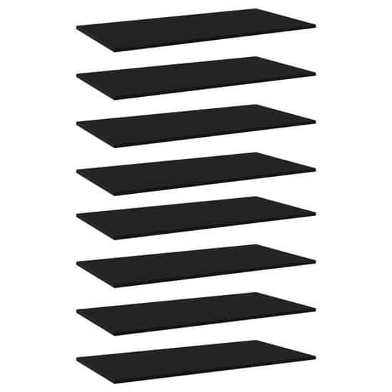 shumee Półki na książki, 8 szt., czarne, 80x20x1,5 cm, płyta wiórowa